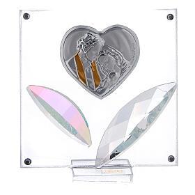 Cuadrito corazón Sagrada Familia pétalos cristal 7x7 cm s1