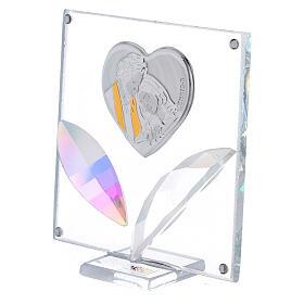 Cuadrito corazón Sagrada Familia pétalos cristal 7x7 cm s2