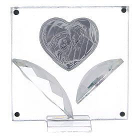 Cuadrito corazón Sagrada Familia pétalos cristal 7x7 cm s3
