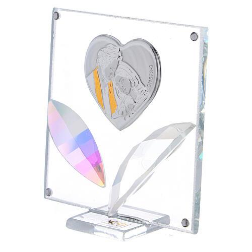 Cuadrito corazón Sagrada Familia pétalos cristal 7x7 cm 2