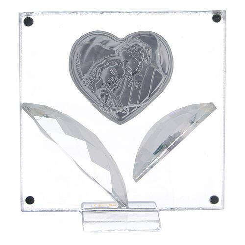 Cuadrito corazón Sagrada Familia pétalos cristal 7x7 cm 3