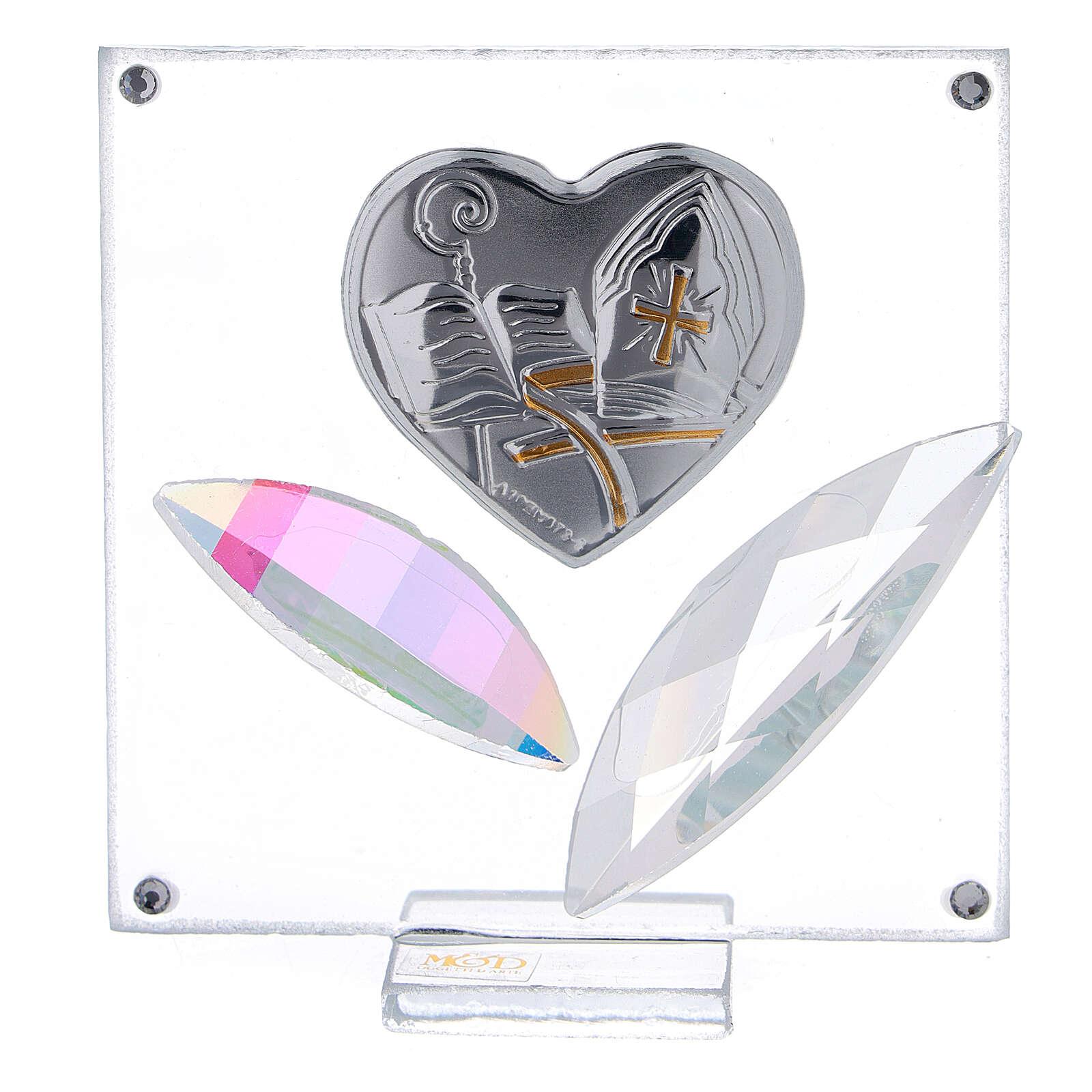 Quadretto cuore Cresima 7x7 cm 3