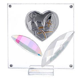Quadretto cuore Cresima 7x7 cm s1