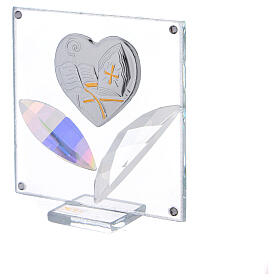 Quadretto cuore Cresima 7x7 cm s2