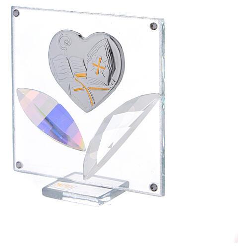 Quadretto cuore Cresima 7x7 cm 2