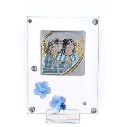 Quadro Anjos prata bilaminada flores azuis 10x5 cm 1