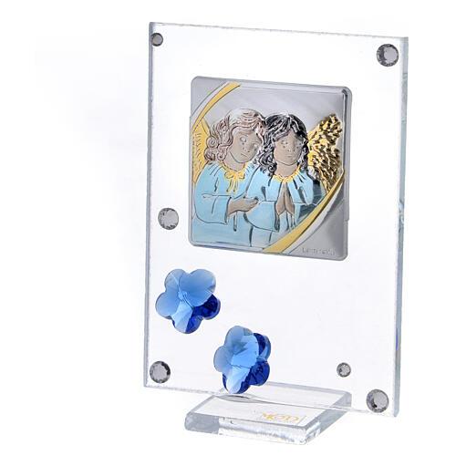 Quadro Anjos prata bilaminada flores azuis 10x5 cm 2