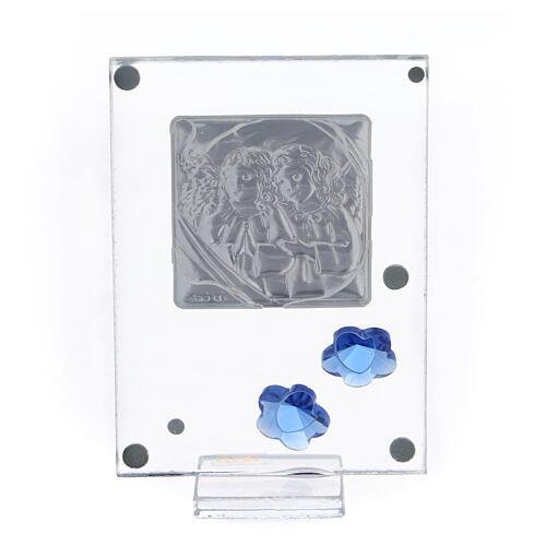 Quadro Anjos prata bilaminada flores azuis 10x5 cm 3