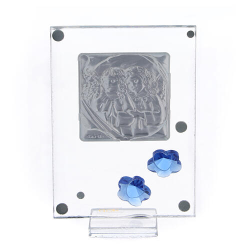 Picture Angels in prayer double laminated blue flowers 4x2 in 3