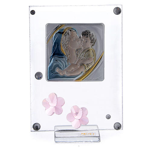 Cuadrito flores rosa bilaminado Bautismo Maternidad 1