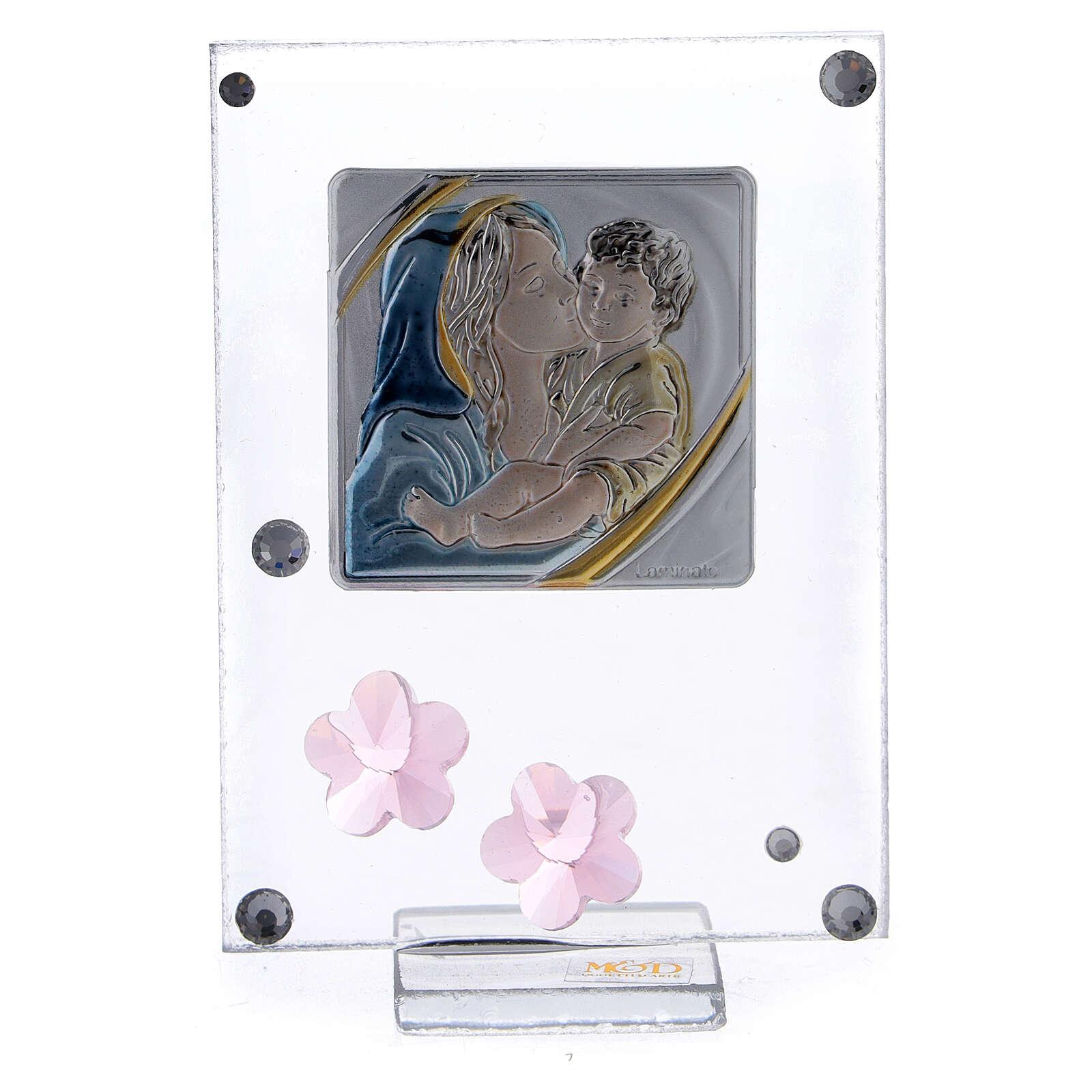 Cadre fleurs roses argent bilaminé Baptême Maternité 3