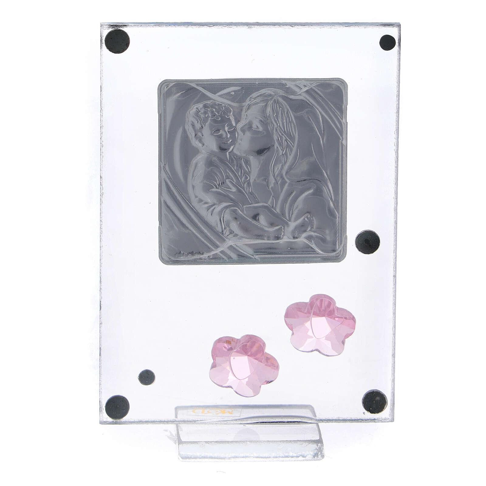 Enfeite flores cor-de-rosa prata bilaminada Batismo Maternidade 3