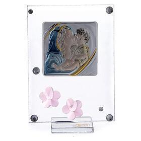 Enfeite flores cor-de-rosa prata bilaminada Batismo Maternidade s1