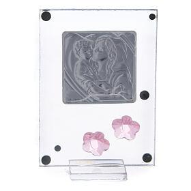 Enfeite flores cor-de-rosa prata bilaminada Batismo Maternidade s3