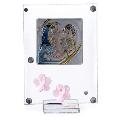 Enfeite flores cor-de-rosa prata bilaminada Batismo Maternidade 1