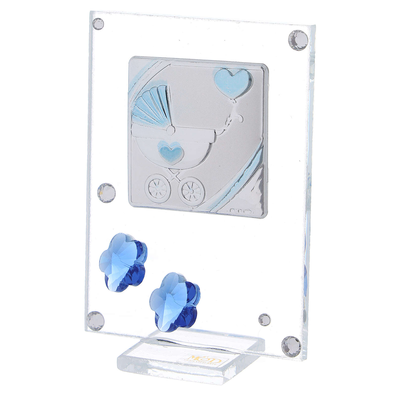 Cadre argent bilaminé poussette bleue 10x5 cm 3