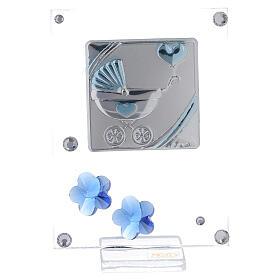 Cadre argent bilaminé poussette bleue 10x5 cm s1
