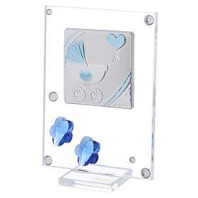 Cadre argent bilaminé poussette bleue 10x5 cm s2