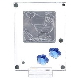 Cadre argent bilaminé poussette bleue 10x5 cm s3