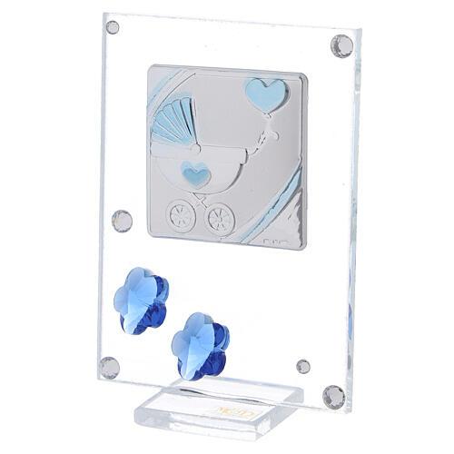 Cadre argent bilaminé poussette bleue 10x5 cm 2