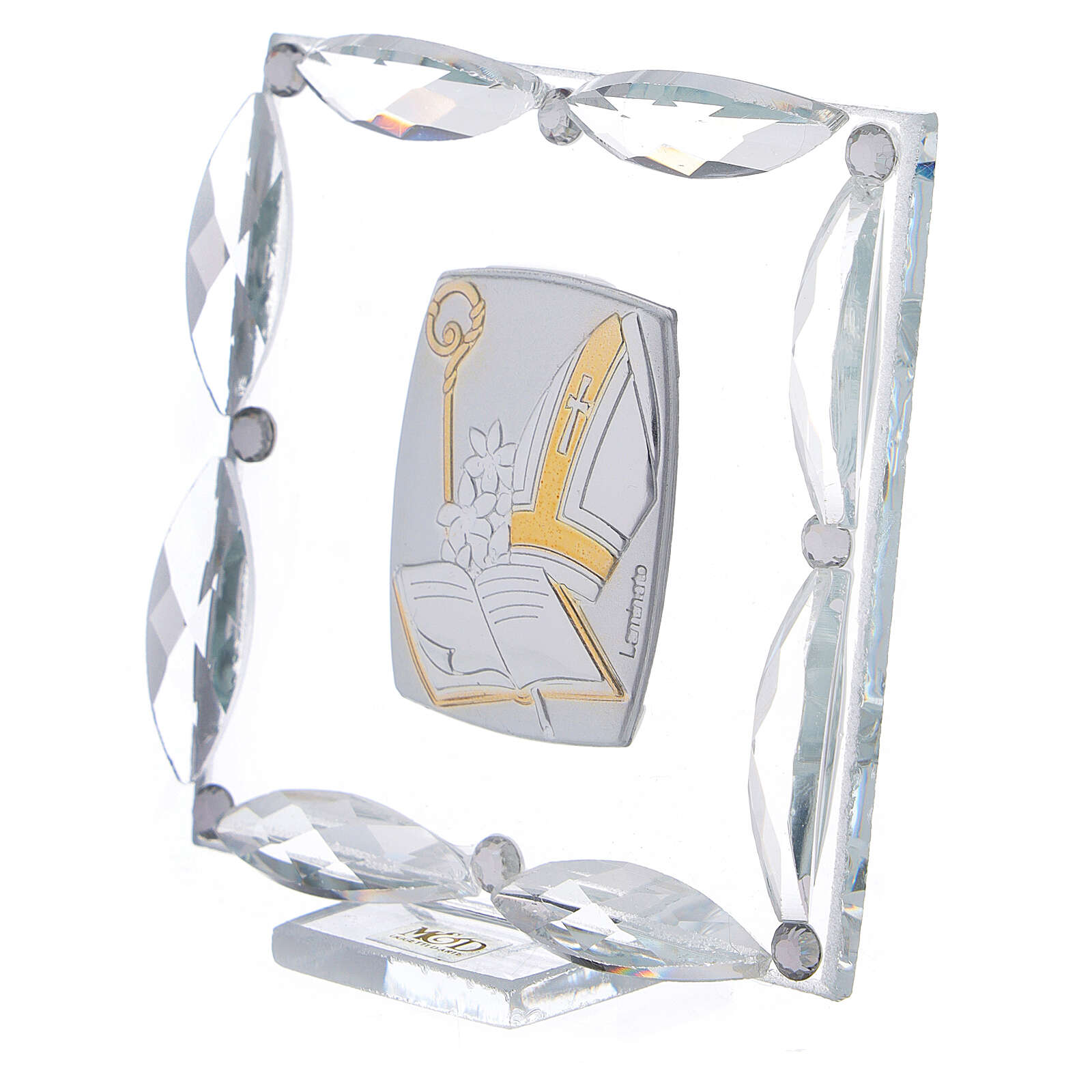 Quadretto Cresima cristalli bianchi 7x7 cm 3