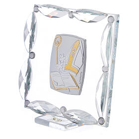 Quadretto Cresima cristalli bianchi 7x7 cm s2
