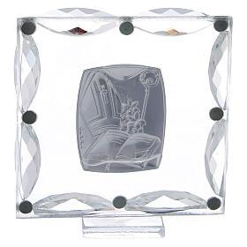 Quadretto Cresima cristalli bianchi 7x7 cm s3