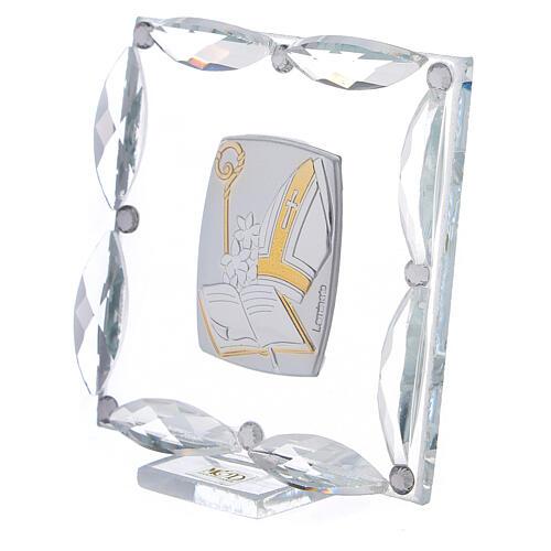 Quadretto Cresima cristalli bianchi 7x7 cm 2