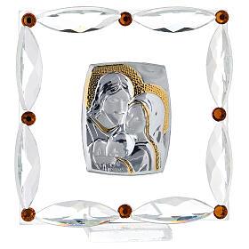 Cuadrito Sagrada Familia Swarovski y cuentas strass ámbar 7x7 cm s1