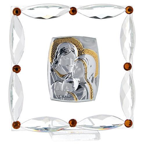 Cuadrito Sagrada Familia Swarovski y cuentas strass ámbar 7x7 cm 1