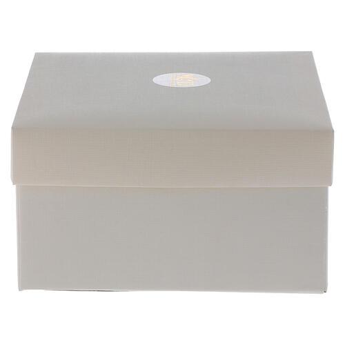 Cuadrito Sagrada Familia Swarovski y cuentas strass ámbar 7x7 cm 4