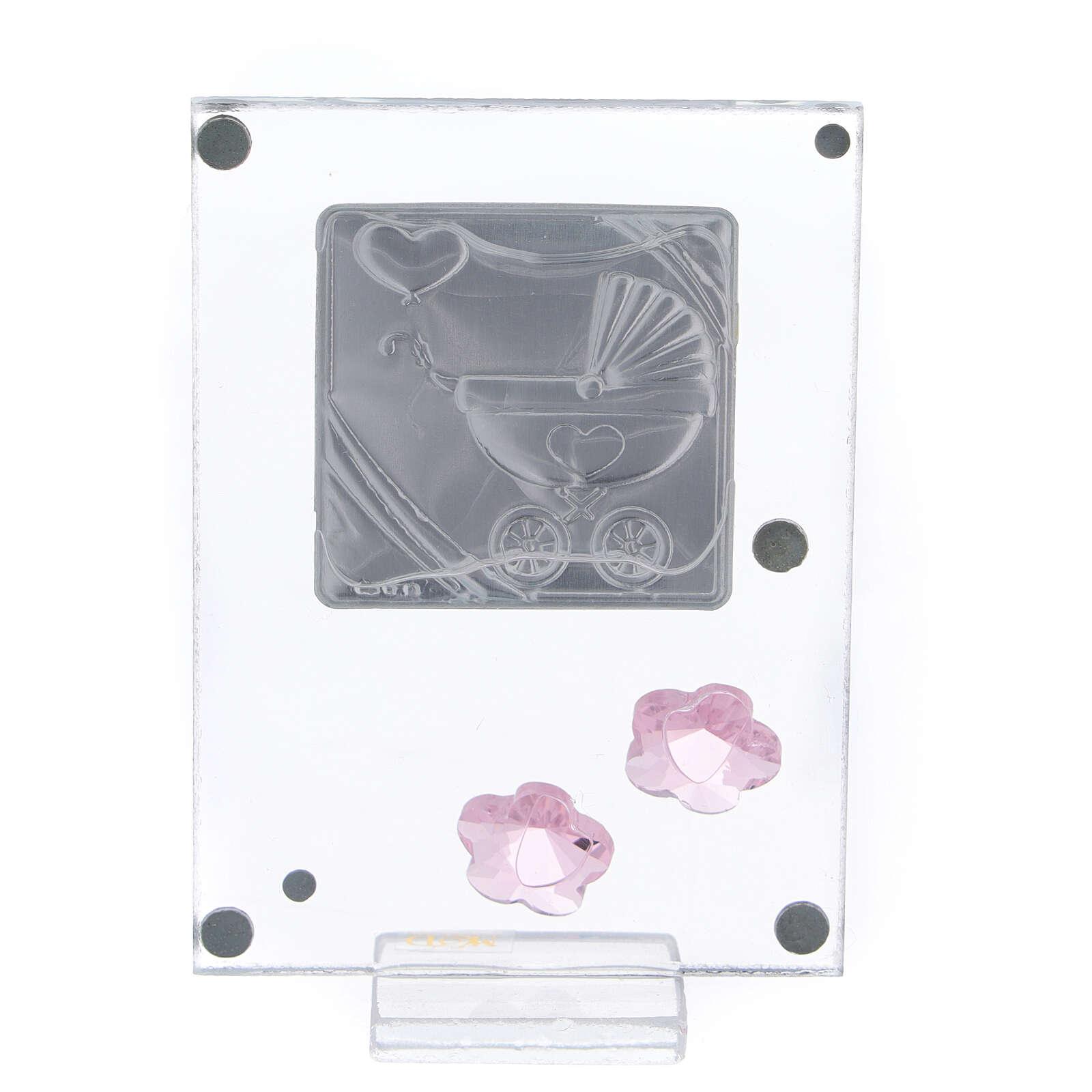 Cuadrito Nacimiento bilaminado cochecito rosa 10x5 cm 3