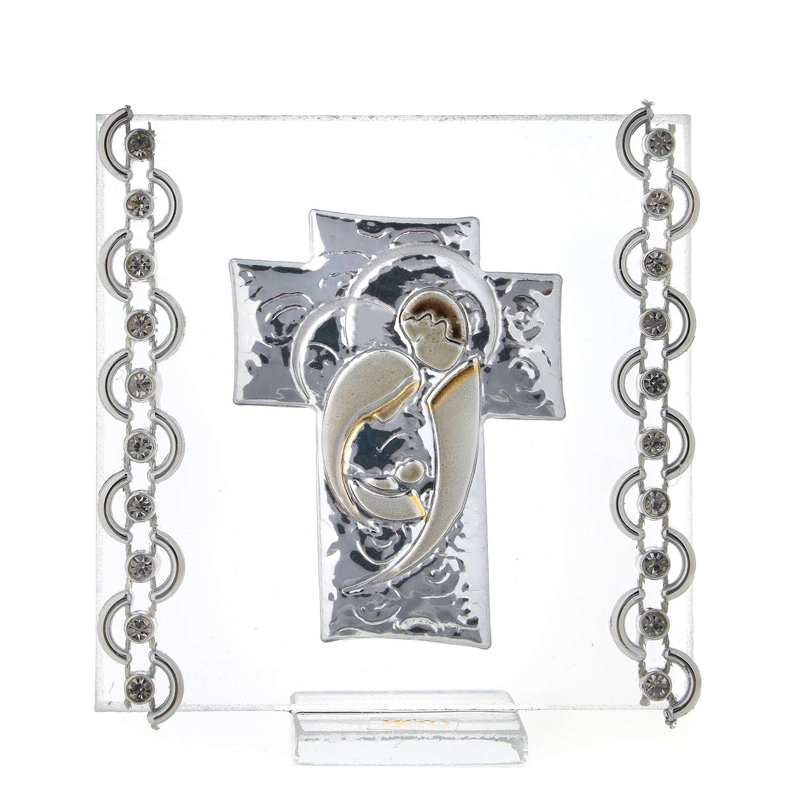 Cuadrito Cruz bilaminado Sagrada Familia y cuentas strass 7x7 cm 3