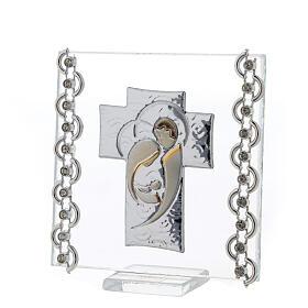Cuadrito Cruz bilaminado Sagrada Familia y cuentas strass 7x7 cm s2
