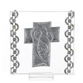 Cuadrito Cruz bilaminado Sagrada Familia y cuentas strass 7x7 cm s3