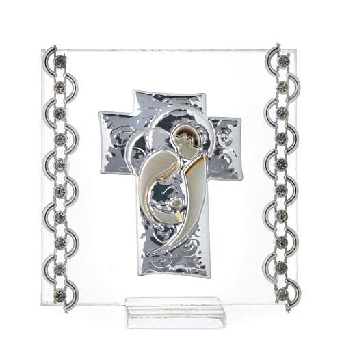Cuadrito Cruz bilaminado Sagrada Familia y cuentas strass 7x7 cm 1