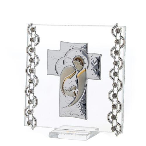 Cuadrito Cruz bilaminado Sagrada Familia y cuentas strass 7x7 cm 2