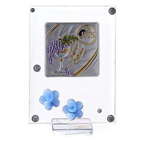 Quadretto Comunione bilaminato fiorellini blu 10x5 cm s1