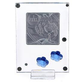 Quadretto Comunione bilaminato fiorellini blu 10x5 cm s3
