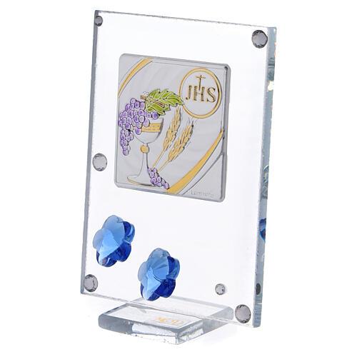 Quadretto Comunione bilaminato fiorellini blu 10x5 cm 2