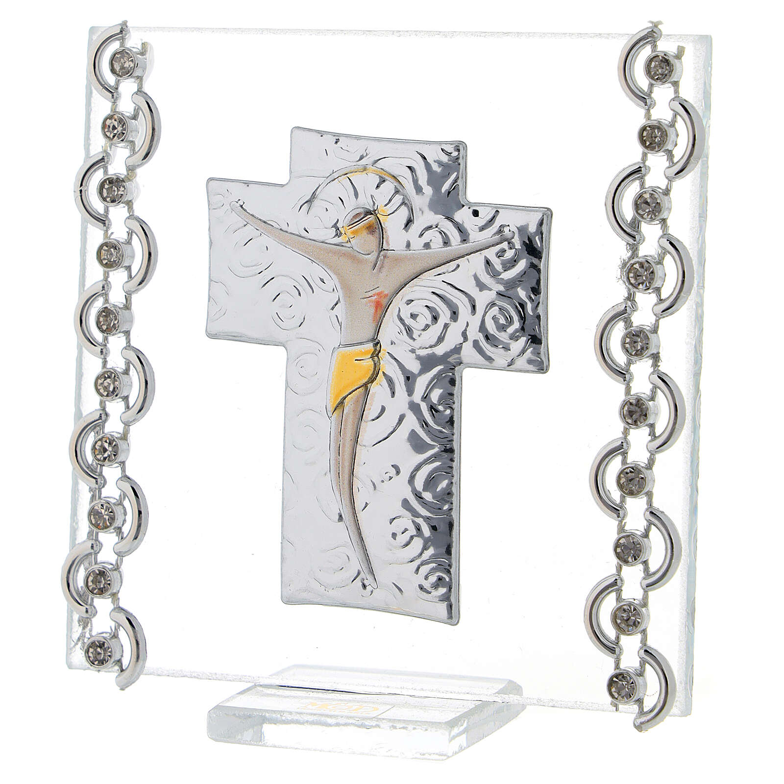 Quadretto Croce Cristo bilaminato 7x7 cm 3