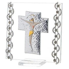 Quadretto Croce Cristo bilaminato 7x7 cm s2