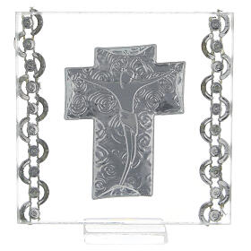 Quadretto Croce Cristo bilaminato 7x7 cm s3