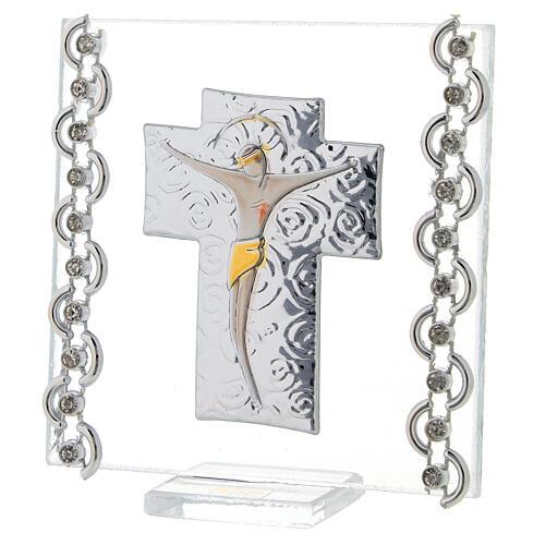 Quadretto Croce Cristo bilaminato 7x7 cm 2
