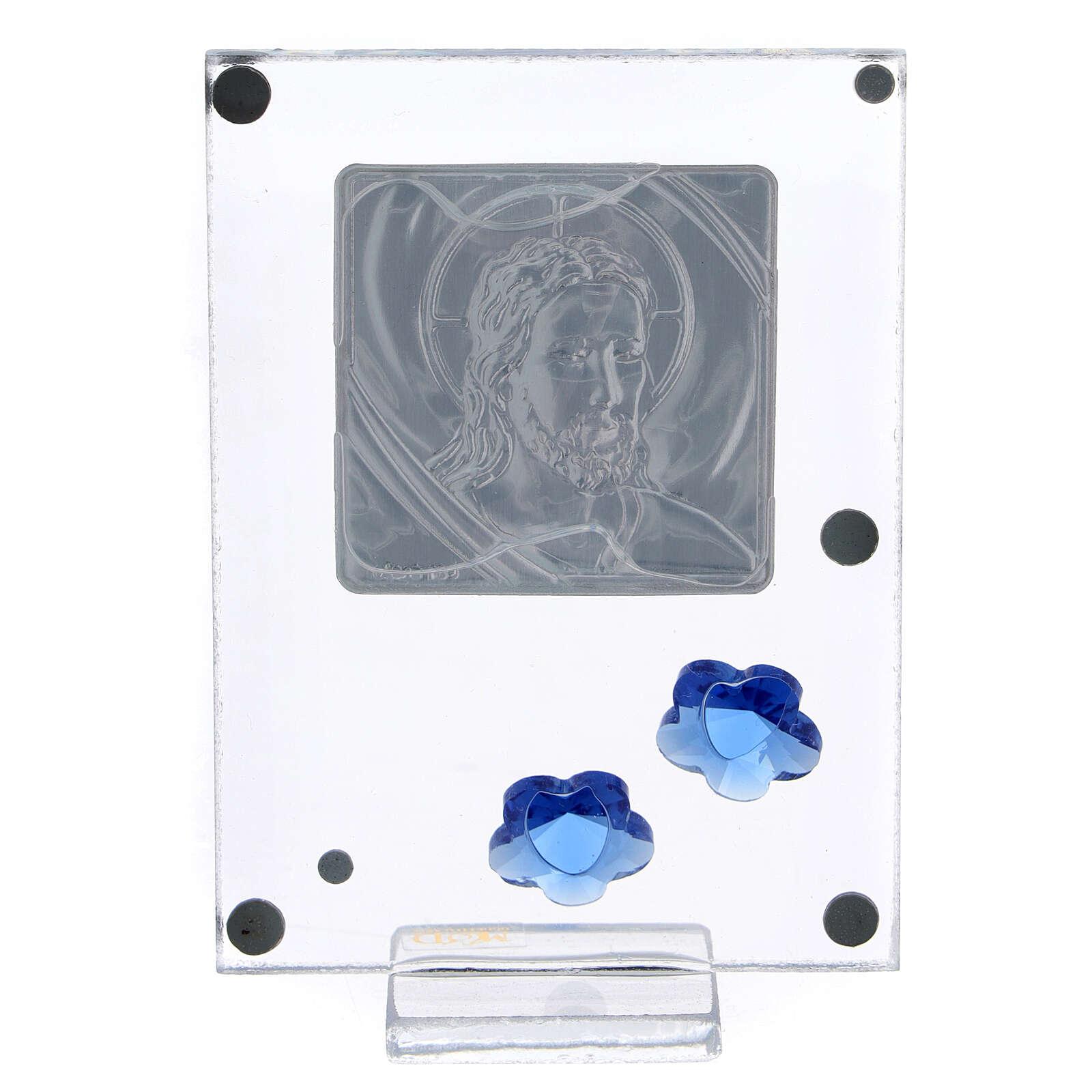 Cadre argent bilaminé Christ fleurs bleues 10x5 cm 3