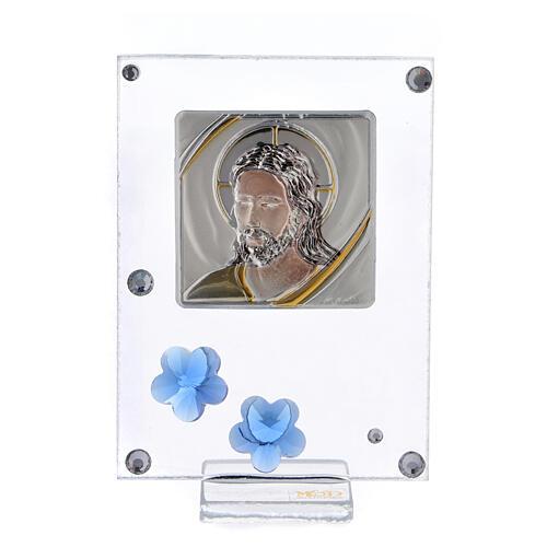 Cadre argent bilaminé Christ fleurs bleues 10x5 cm 1