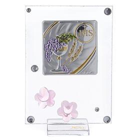 Cadre Communion argent bilaminé fleurs roses 10x5 cm s1
