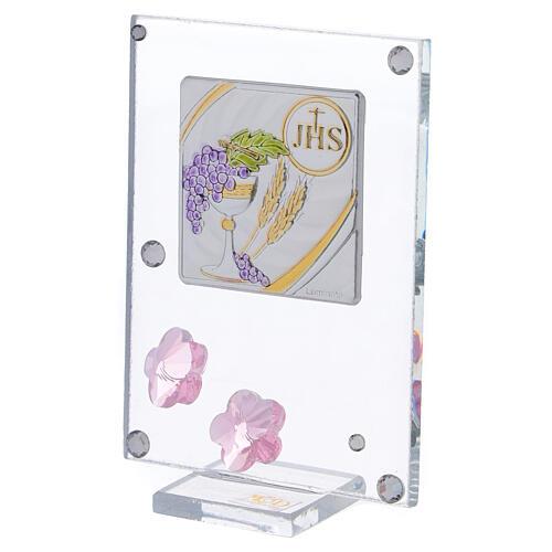 Quadretto fiorellini rosa Prima Comunione 10x5 cm 2
