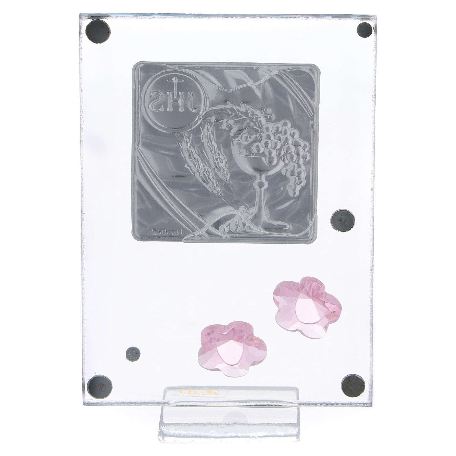 Glass picture Holy Communion double laminated silver pink flowers 4x2 in 3