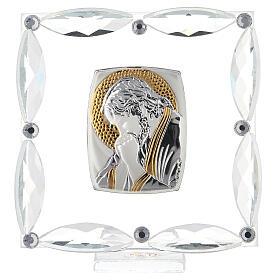 Quadretto Cristo in preghiera cristalli bianchi 7x7 cm s1